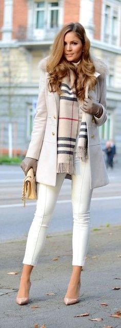 Burberry scarf with whites.