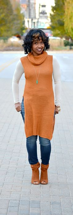 Fall, Fall Outfit Idea, Booties, Rust Sweater