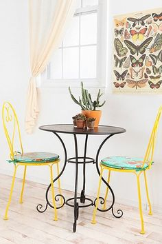 bistro chairs and butterflies