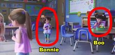 In Toy Story one of Bonnie's classmates on her first day of school is actually Boo from Monsters, Inc. 29 Tiiiiiiny Movie Details That Are Just So Freaking Clever Funny Disney Jokes, Disney Memes, Stupid Funny Memes, Funny Facts, Disney And Dreamworks, Disney Pixar, Disney Secrets In Movies, Disney Easter Eggs, Small Movie