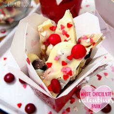 White Chocolate Valentine's Bark, made with Cherry M&Ms and Raspberry Oreos.  YUM!