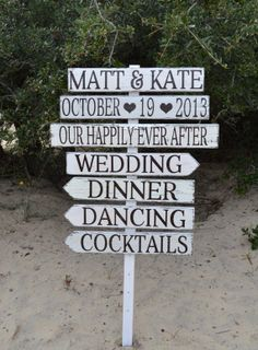 Wedding Decor Wedding Signs Directional Arrow Stake Signs Welcome Wedding Outdoor Rustic Hand Painted by CarovaBeachCrafts