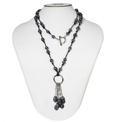 """Sterling Silver 7-10mm Black Ringed Freshwater Cultured Pearl on Black Leather 36"""" Tassle Necklace"""