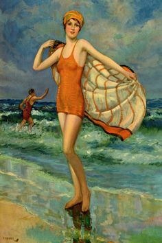 Antique Early Century Bathing Beauty Seaside Flapper FR Harper Pin-Up Print Images Vintage, Art Vintage, Vintage Artwork, Vintage Pictures, Vintage Postcards, Vintage Ladies, Vintage Style, Art Plage, Sculpture Textile