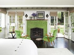 Apple Green Fireplace as a Focal Point