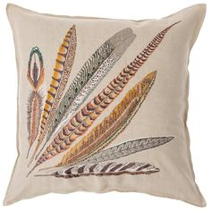 """Pheasant Feather Right - 26"""""""" Embroidered Pillow"""