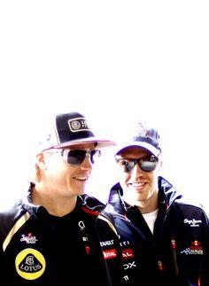 Smiling... Kimi Raikkonen and Sebastian Vettel #bromance :D