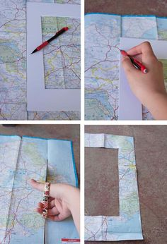 DIY MAPPED FRAME: What a great way to remember your vacation together!
