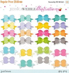 Just Bows clipart set comes with 48 ribbon bows in pink, purple, orange, green, yellow, teal, gray and blue. There are three versions of each bow- a solid, a chevron and a polka dot. Great for photography, invitations, scrapbooking, logo design and more.    Graphics are created in vector image software and are saved at High Quality 300 dpi Resolution.    Image Size:    -Graphics will be 7 inches at their tallest or widest point.    Formats Included:    -High Resolution JPG with White…