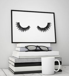 Printable 8.5X11 inches A4 in watercolor lashes This art work is a watercolor style, please be sure to look at all of the close up images. ♥♥♥♥♥♥♥♥♥♥♥♥♥♥♥ Black & white, wall art, Fashion painting by Amanda Greenwood Art on Etsy