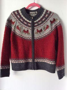 Croft & Barrow Winter Zip Up Sweater Cardigan Texture Loops Cardinal Birds Sz PS #CroftBarrow #Cardigan