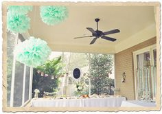 12 Tissue Paper Pom Pomsmint to be theme poms by SimplyNesting, $34.00