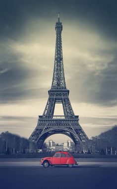 Picture of Eiffel Tower and old red car - Paris stock photo, images and stock photography. Rouge Paris, Paris Torre Eiffel, Toile Photo, I Love Paris, Canvas Prints, Art Prints, Paris Photos, France, Wall Art