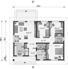 Projekt domu Lena Bobo - murowana – keramzyt 96,6 m2 - koszt budowy 218 tys. zł - EXTRADOM Lens, Floor Plans, Floor Plan Drawing, House Floor Plans