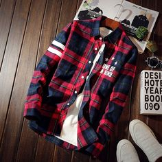 Men's Long Sleeve Plaid Shirt with Letters Print Slim Comfortable Work Casual Shirts Student boys&girls Thin coat Stylish Mens Outfits, Cool Outfits, Casual Outfits, Mens Flannel Shirt, Plaid Shirts, Kurta Designs, Work Casual, Shirt Style, Casual Shirts