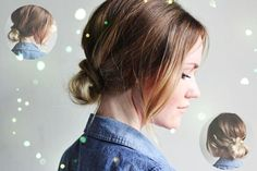low bun hairstyle by clip on brown 20 inch real hair extension for thin and short hair
