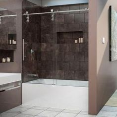 DreamLine, Enigma-Z 56 to 59 in. W x 62 in. H Frameless Sliding Shower Door in Polished Stainless Steel, SHDR-6260620-08 at The Home Depot - Mobile