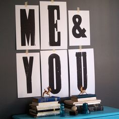 Me & You Print art, white, black Printed letters vs. cut out
