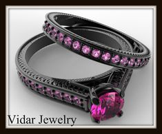 Black Gold Bridal Ring Set | Vidar Jewelry - Unique Custom ...