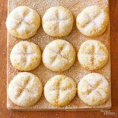 Shredded tangerine peel and orange extract mark the spot in thecenters of these bright butter cookies./