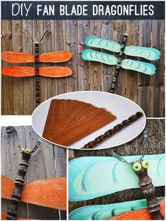 Make #upcycled dragonflies from fan blades #tutorial @savedbyloves