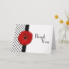 Red Gerber Black White Polka Dot Wedding Thank You Handmade Thank You Cards, Wedding Cards Handmade, Custom Thank You Cards, Handmade Birthday Cards, Greeting Cards Handmade, Diy Handmade Cards, Butterfly Cards Handmade, Simple Birthday Cards, Birthday Cards For Boys