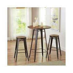 Pub-Table-Stools-3-Piece-Set-Den-Kitchen-Nook-Bistro-Dining-Office-Dorm-Compact