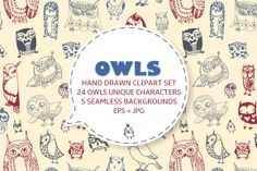 Check out hand drawn owls by kite-kit on Creative Market
