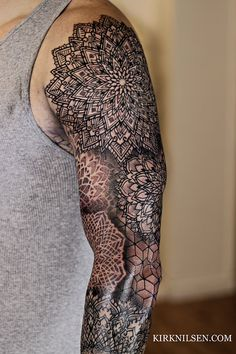 Geometric Tattoo Sleeve Designs, Geometric Tattoos Men, Mandala Tattoo Design, Weird Tattoos, Sweet Tattoos, Arm Tattoos For Guys, Best Sleeve Tattoos, Cover Up Tattoos, Mandala Tattoo Sleeve
