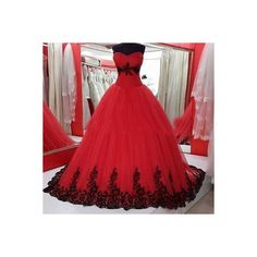Gothic 2016 Black and Red Wedding Dress Organza Wedding Bridal Gowns... ❤ liked on Polyvore featuring dresses and wedding dresses