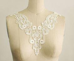 Ivory Venice Lace Applique Collar / Bridal Applique / Venetian Lace / Neckline / Lace Necklace