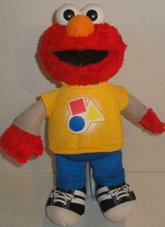 Press Tummy To Hear Him Sing And Talk. He Talks And Sings All About Colors And Shapes. Sesame Street Place, Elmo Toys, Plush Animals, Stuffed Animals, Big Bird, Color Shapes, Plush Dolls, Amazing Toys