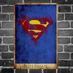 Superman retro poster minimalist poster movie print by Harshness, $19.00