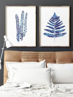 Fern Art Botanical Print Home Decor, 2 Ferns, Leaf Watercolor Painting, Fern Wall Art Blue Illustration, Woodland Nature Minimalist Set