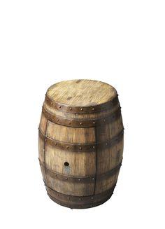 Mountain Lodge Lovell Praline Barrel Table Wine Barrel Table, Rustic Furniture Stores, Planter Table, Black Floor Lamp, Metal Bands, Vintage Metal, Contemporary Furniture, Dot And Bo, Butler