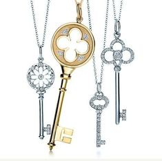 Tiffany & Co. has announced a new jewellery collection inspired by vintage keys from the Tiffany & Co. The key pendants and char. Tiffany Key Necklace, Tiffany Jewelry, Key Jewelry, Fine Jewelry, Tiffany & Co., Tiffany Outlet, Skeleton Key Necklace, Skeleton Keys, Horseshoe Necklace
