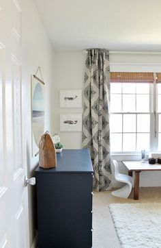 Modern Coastal Boy's Bedroom:White Walls, Navy Dresser, ATG Curtains, Flokati Area Rug, Minted Whale Art