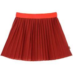 Billieblush Girls Red Pleated Skirt at Childrensalon.com