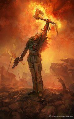 llustration done for FFG`s upcoming Warhammer RPG Black Crusade. Warhammer 40k Rpg, Warhammer Models, Samurai Warrior Tattoo, Dragons, Koi Art, Starcraft, Illustrations, Character Art, Fantasy Art