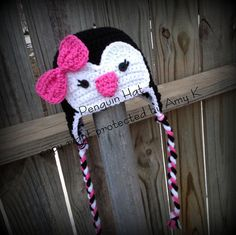 I would want the pink a little different color...Baby Girl Penguin Hat, Crochet Baby Hats, Baby Girl, Baby Girl Hats, MADE TO ORDER