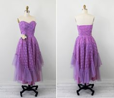 vintage 1950s 50s dress // Purple and Lavender by RococoVintage, $246.00