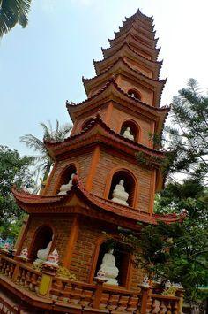 Tran Quoc Pagoda at West Lake in Hanoi, Vietnam