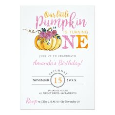 Little pumpkin First birthday invitation card - baby birthday sweet gift idea special customize personalize
