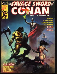 The Savage Sword of Conan the Barbarian - Marvel Comics - fantastic Boris Vallejo cover. Boris has also done covers for the Doc Savage and Conan paperbacks! Conan Comics, Marvel Comics, Bd Comics, Boris Vallejo, Comic Book Covers, Comic Books Art, Comic Art, Caricature, Trinidad