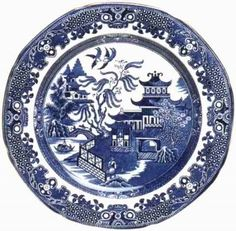 Blue willow china plate.      Have the set love it