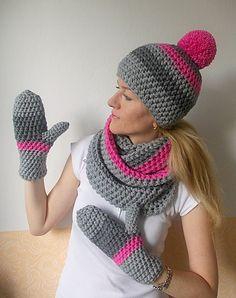 Crochet Beanie Hat, Crochet Cap, Crochet Gloves, Crochet Baby Hats, Crochet Scarves, Knitted Hats, Crochet Scrubbies, Simply Crochet, Hat And Scarf Sets