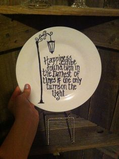 Sharpie on plates, bake in the oven to make permanent...Harry Potter quote of course(;