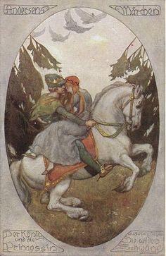 The Wild Swans -- Antique Postcard -- Fairytale Illustration