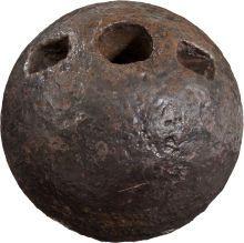 Civil War, Rare Confederate 4.52-Inch 12 Pound CoHorn Mortar Shell.