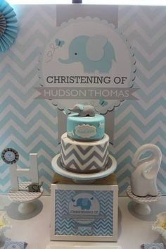 Chevron and Blue Elephant Baptism Party Ideas Elephant Party, Elephant Birthday, Elephant Theme, Elephant Baby Showers, Baby Elephant, Baby Shower Chevron, Fiesta Baby Shower, Baby Boy Shower, Baby Shower Cakes